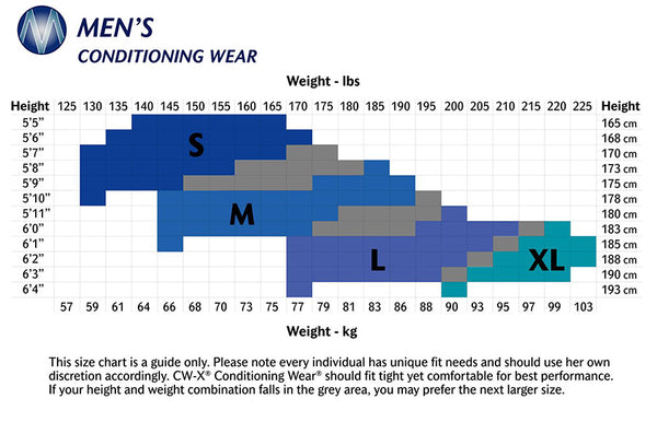 Men's CW-X Compression Tights size chart