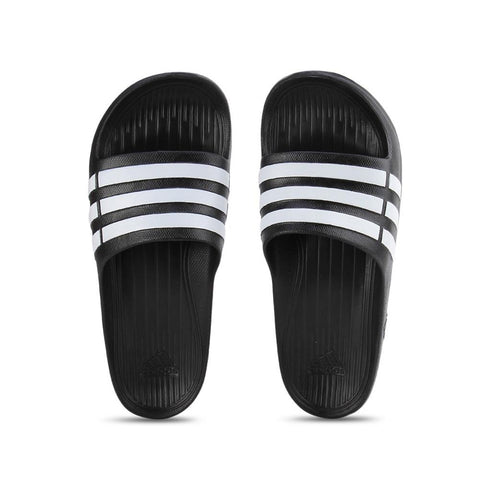 adidas Duramo Black-White Classic Slides | Toby's Sports