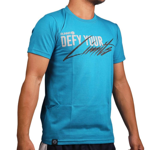 RUNNR Men's Defy Your Limits Blue Shirt