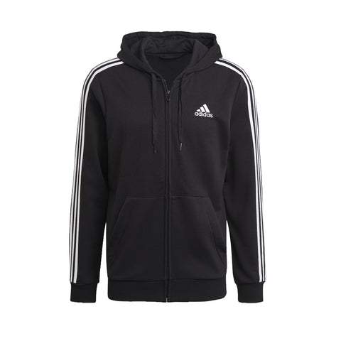 ADIDAS MEN'S ESSENTIALS FRENCH TERRY 3-STRIPES FULL-ZIP HOODIE