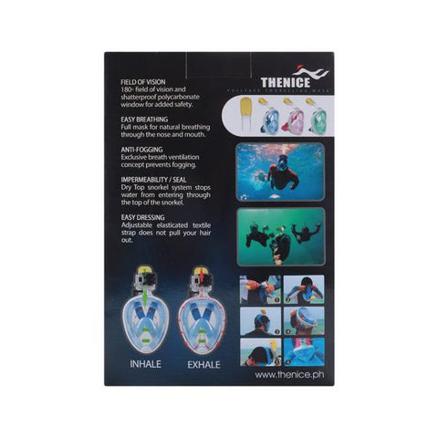 Thenice Full Face Snorkeling Blue Mask