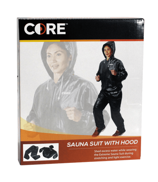 Core Black Sauna Suit with Zipper and Hood | Toby's Sports
