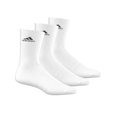 ADIDAS 3 STRIPE HALF CUSHIONED PERFORMANCE CREW SOCKS - 3 PAIRS
