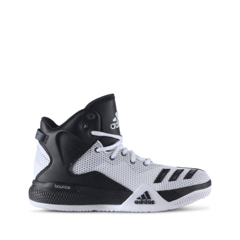 Buy the adidas DT BBall Mid J White Black Basketball Shoes-B72889 at Toby's Sports!