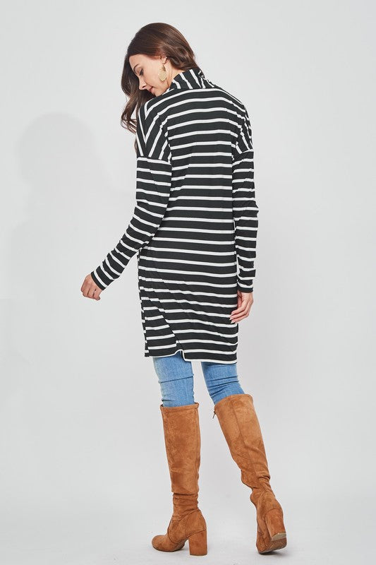 MIA STRIPED CARDIGAN - BLACK/IVORY