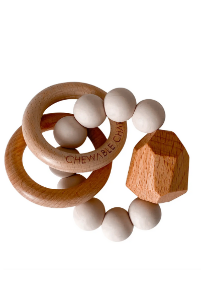HAYES SILICONE + WOOD TEETHER RING - OAT