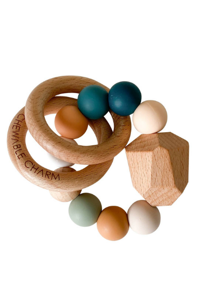 HAYES SILICONE + WOOD TEETHER RING - SUMMER