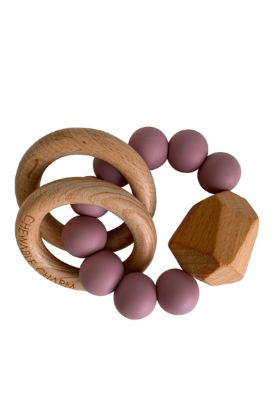 HAYES SILICONE + WOOD TEETHER RING - LILAC