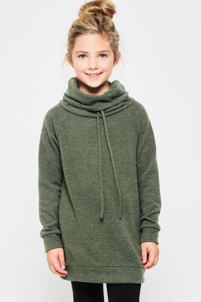 IVY COWL NECK - GIRLS - OLIVE