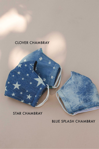 ADULT FACE MASK - BLUE SPLASH CHAMBRAY