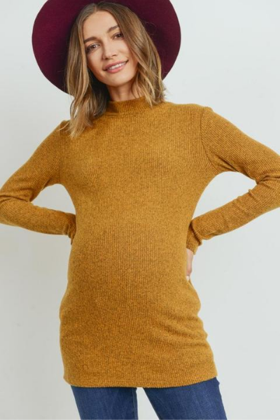HAZEL RIBBED TOP - MUSTARD