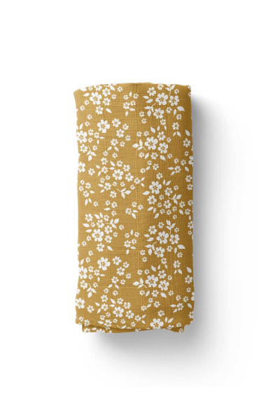 WHIMSY FLORAL SWADDLE - MUSTARD