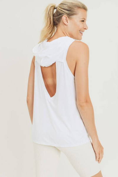BARTLEY HOODED TANK - WHITE