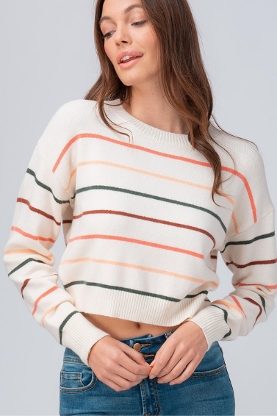 RAINBOW CROP SWEATER