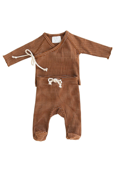 LAYETTE SET - RUST + WHITE