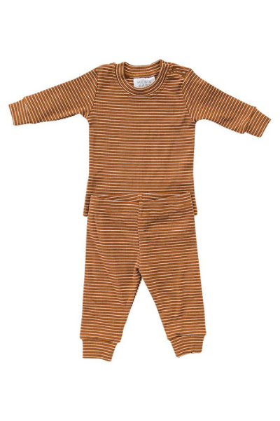 CEDAR STRIPE SET - RUST + WHITE