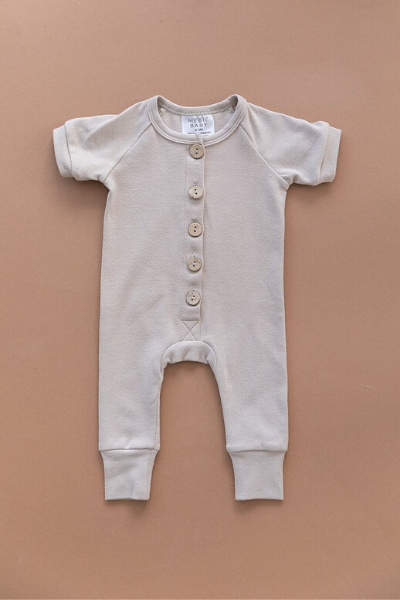 POPLAR BUTTON ROMPER - ASH