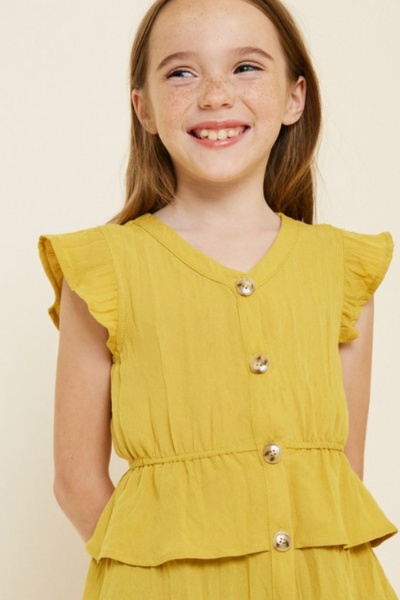 ELOISE RUFFLE TOP - GIRLS - HONEY