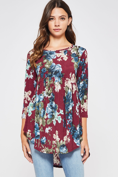 LIV FLORAL TOP - BURGUNDY