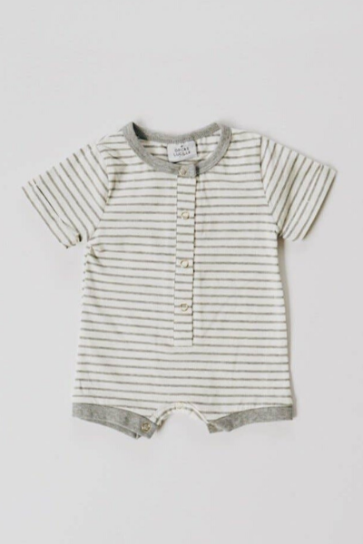 SAWYER ROMPER - GREY STRIPE
