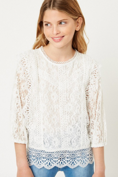 NORA LACE TOP - GIRLS