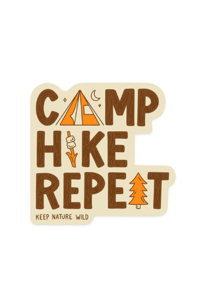 CAMP HIKE REPEAT STICKER