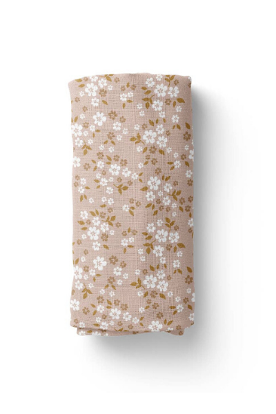 WHIMSY FLORAL SWADDLE - MULTI PEACH