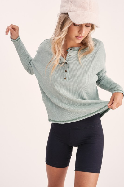 RILEY SEAMED TOP - SAGE