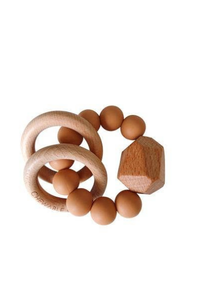 HAYES SILICONE + WOOD TEETHER RING - TERRACOTTA