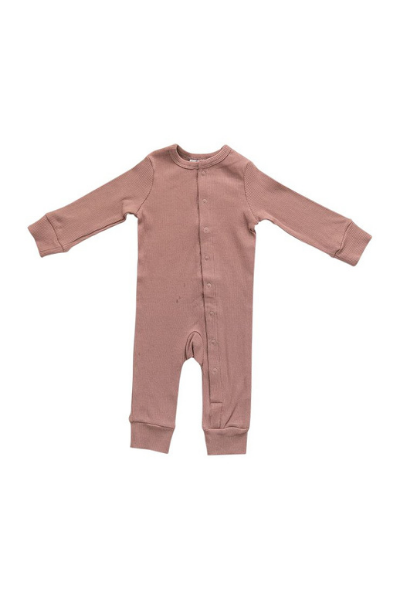 FERN RIBBED FOOTLESS ONE-PIECE - DUSTY ROSE