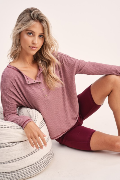 RILEY SEAMED TOP - MAUVE
