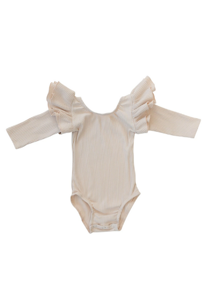 REMY 3/4 SLEEVE LEOTARD - CREAM