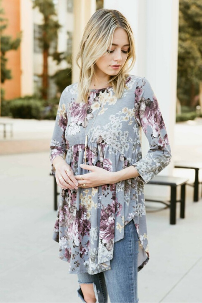 LIV FLORAL TOP - GREY