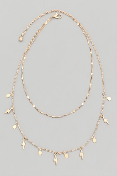 LIGHTENING BOLT LAYERED NECKLACE (2 COLORS)