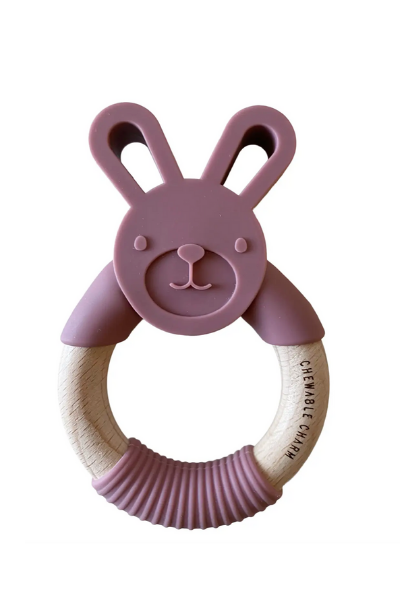 BUNNY SILICONE + WOOD TEETHER - MAUVEWOOD
