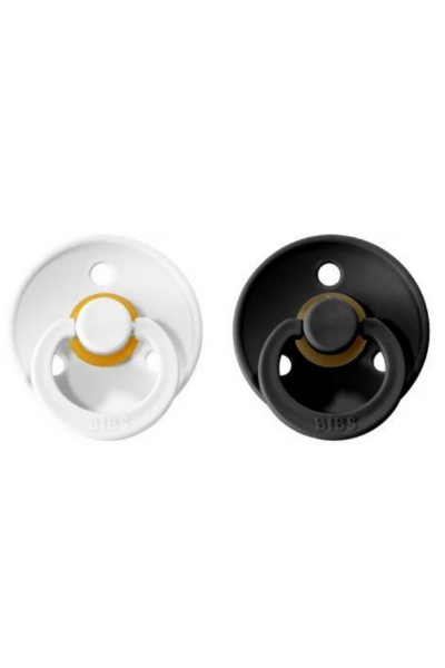 BIBS PACIFIER (2 PACK) - BLACK + WHITE