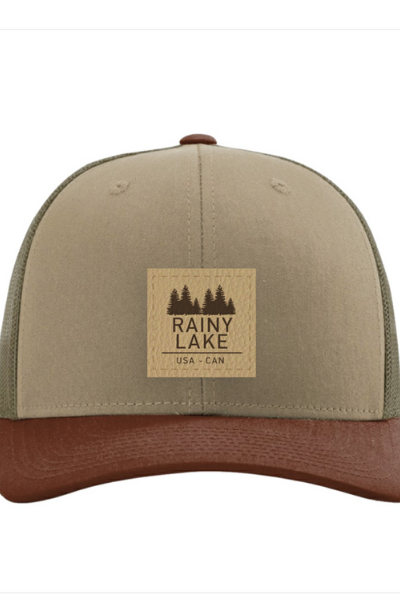 RAINY LAKE LEATHER PATCH SNAPBACK - GREEN/BROWN