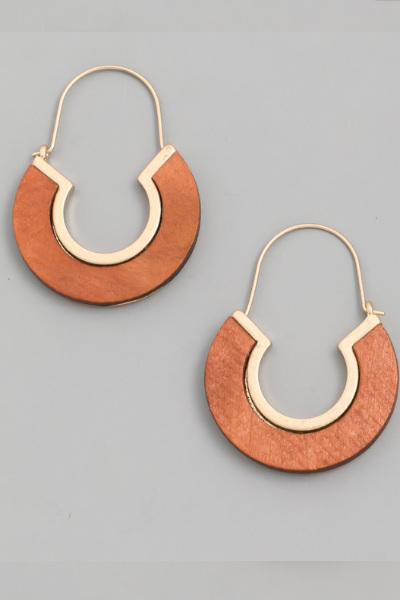 WOODEN CIRCLE DROP EARRINGS - LIGHT BROWN