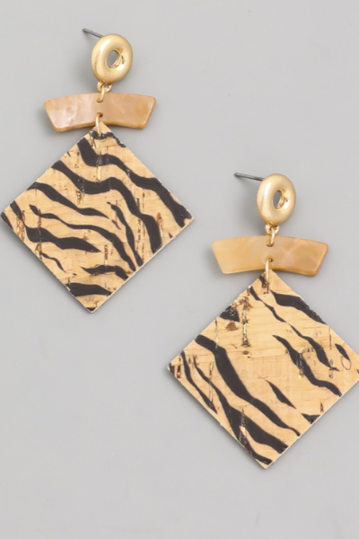 CORK EARRINGS - TIGER