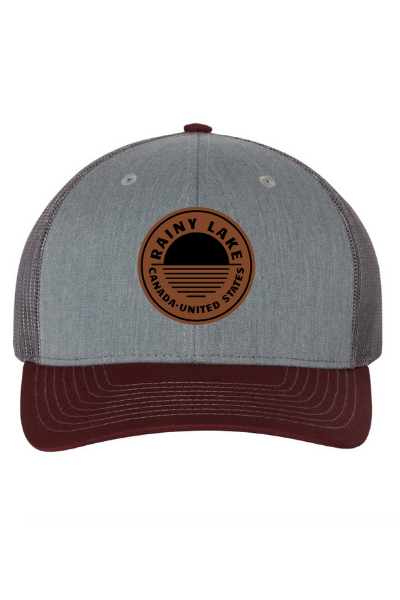 BRULE SNAPBACK (LEATHER) - GREY/CHARCOAL/MAROON