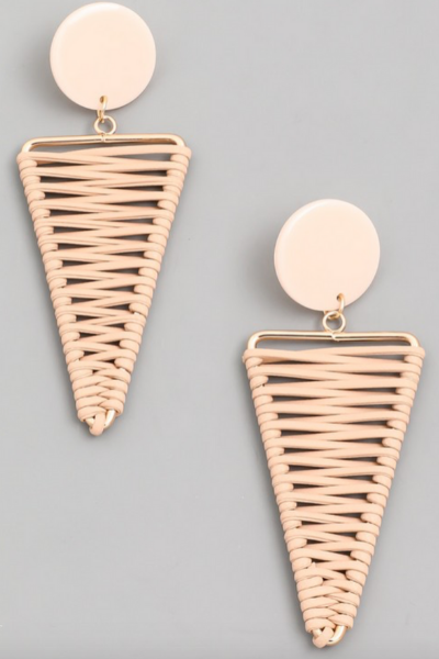 WRAPPED TRIANGLE EARRINGS - PINK