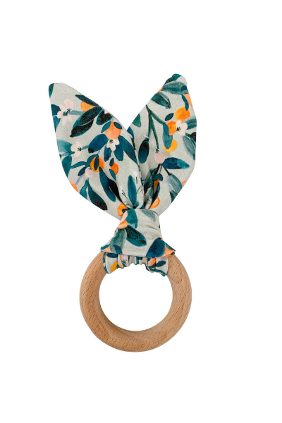 CRINKLE BUNNY EARS TEETHER - CITRUS