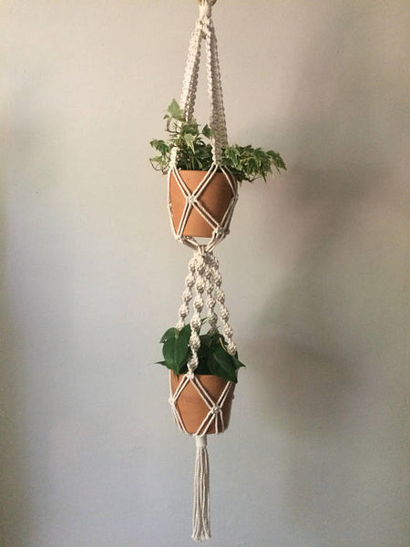DOUBLE MACRAME PLANT HANGER - SMALL