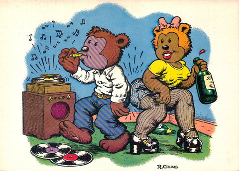 Bearzy Wearzy Notecard - R. Crumb