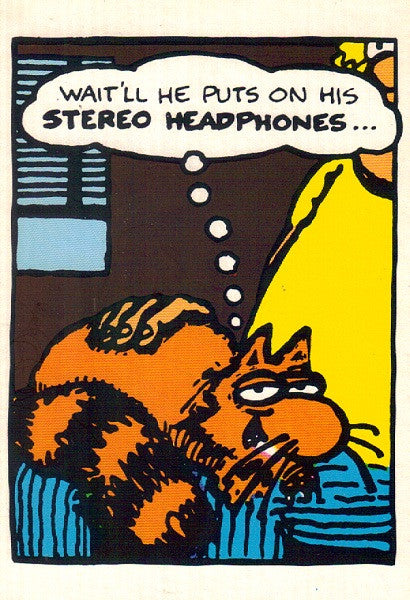 Fat Freddy's Cat Headphones Postcard - Shelton