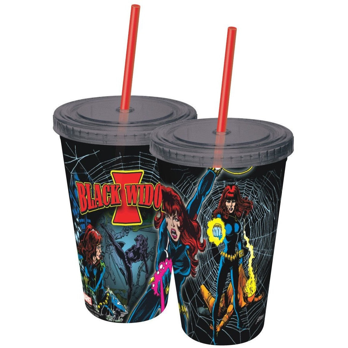 Classic Black Widow Plastic Travel Cup with Straw Uncanny!