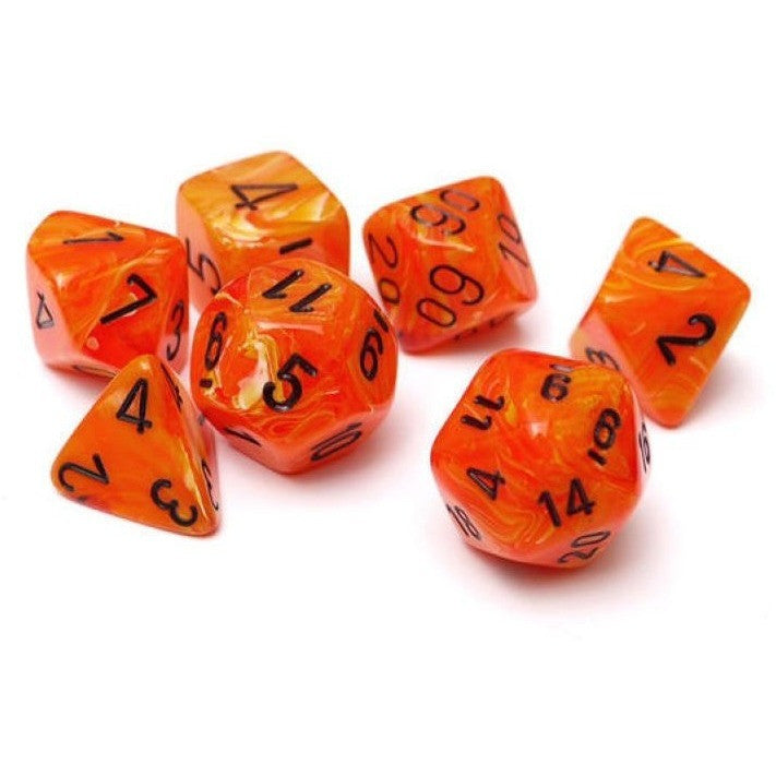 Orange with Black Vortex Dice Set Uncanny!