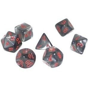 Black with Red Velvet Polyhedral Die Set