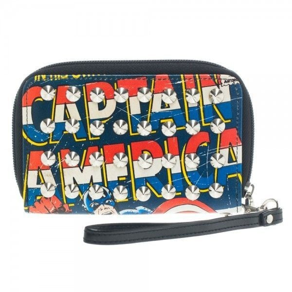 Captain America Studded Zipper Wallet