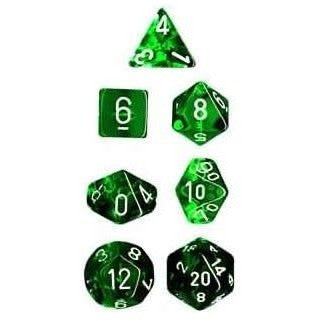 Translucent Green and White Polyhedral Die Set